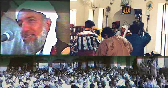 HDEGohar Shahi speaking before Muslims of Shia sect in the Nur-e-Imam Mosque in Nizamabad, Karachi, Pakistan