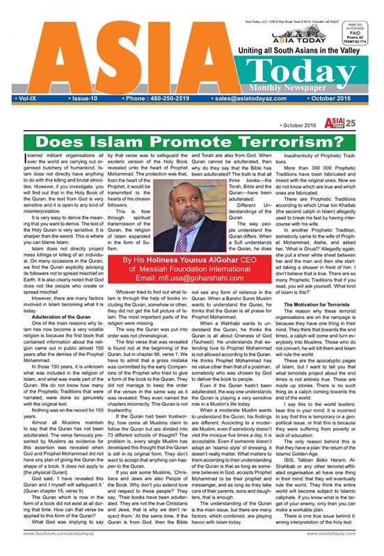 The Asia Today is a monthly publication which is tailored for the South  Asian community. It is based in Arizona, USA. Read its October issue here.